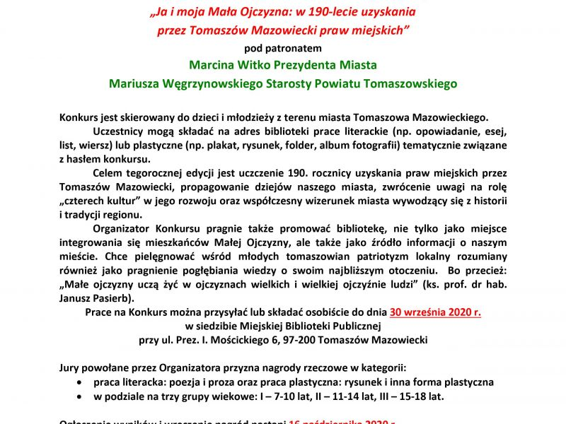 Miejska Biblioteka Publiczna zaprasza do udziału w konkursie