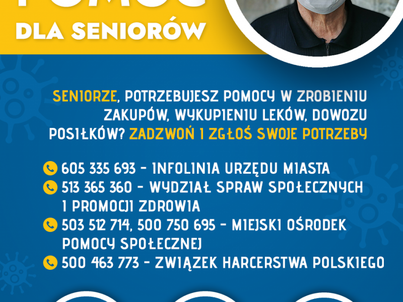 plakat w kolorze żółto niebieskim na którym znnajduje się zdjęcie starszego mężczyzny w masce oraz poniże informacjami z treści komunikatu