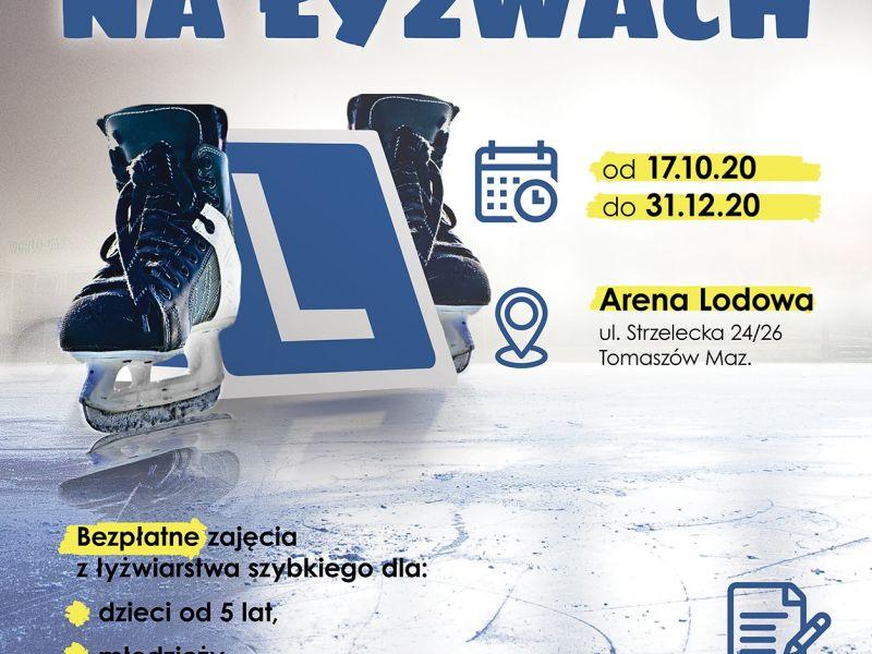 na plakacie są czarne łyżwy, znak z literą L, tło w kolorze niebieskim