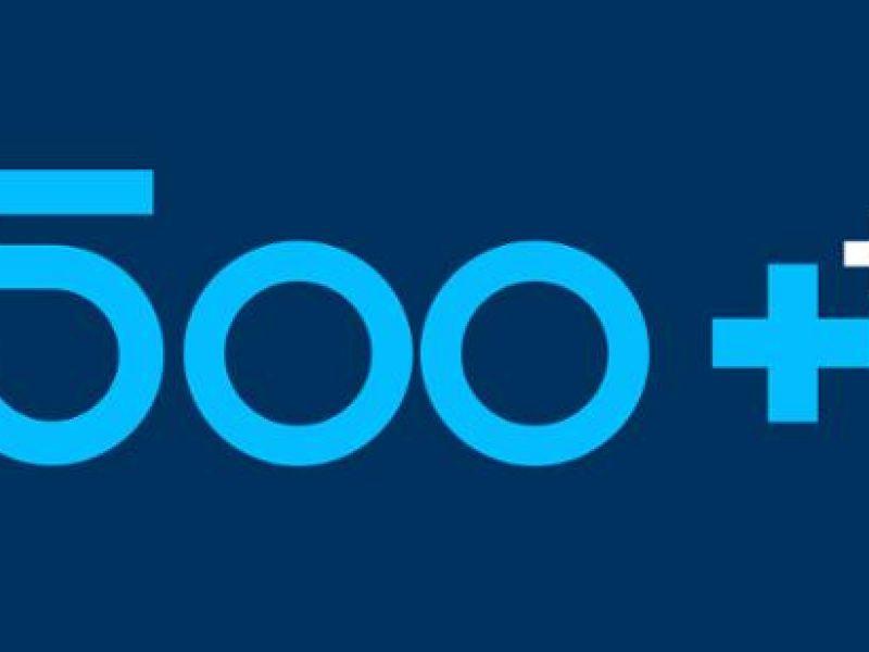 Na zdjęciu baner programu 500 plus. Na niebieskim tle cyfra pięćset i dwa znaki plusa